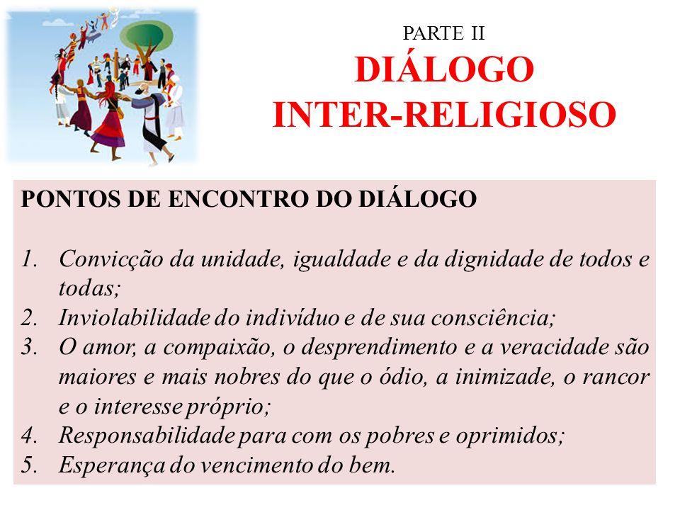 PARTE II DIÁLOGO INTER-RELIGIOSO PONTOS DE ENCONTRO DO DIÁLOGO 1.Convicção da unidade, igualdade e da dignidade de todos e todas; 2.Inviolabilidade do