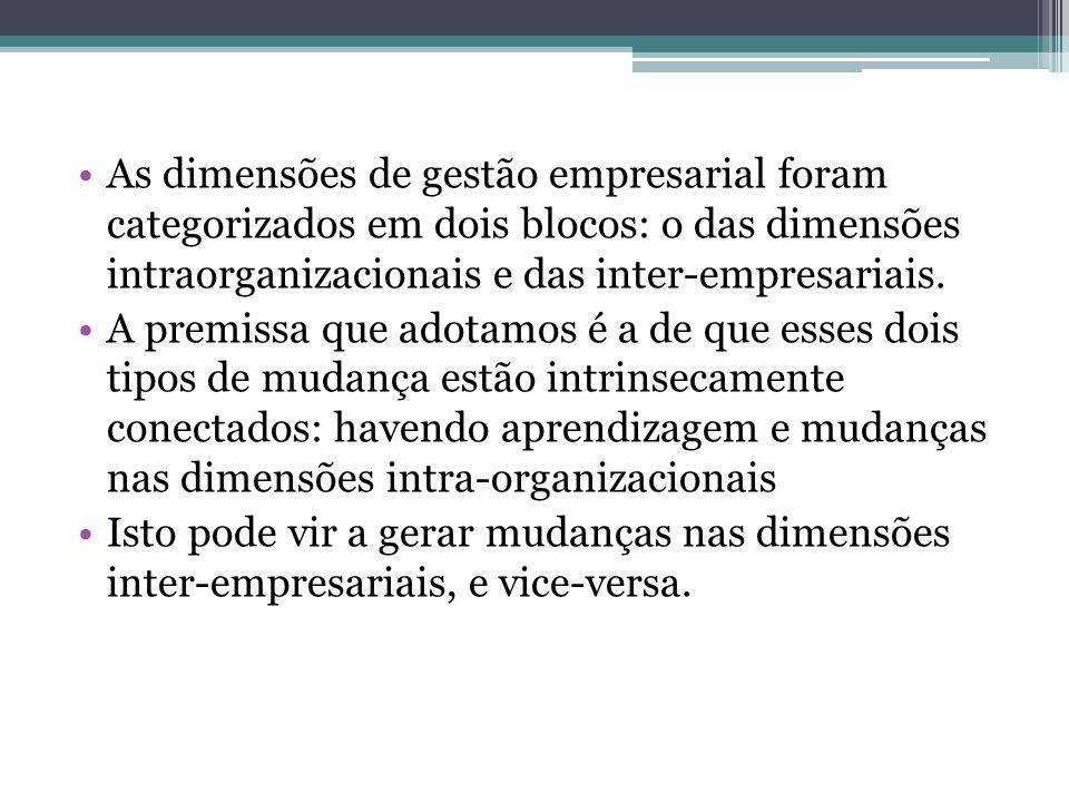 As dimensões de gestão empresarial foram categorizados em dois blocos: o das dimensões intraorganizacionais e das inter-empresariais. A premissa que a