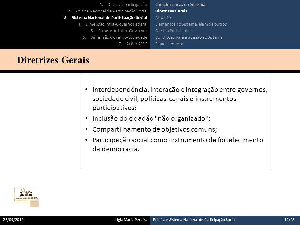 Interdependência, interação e integração entre governos, sociedade civil, políticas, canais e instrumentos participativos; Inclusão do cidadão não organizado ; Compartilhamento de objetivos comuns; Participação social como instrumento de fortalecimento da democracia.