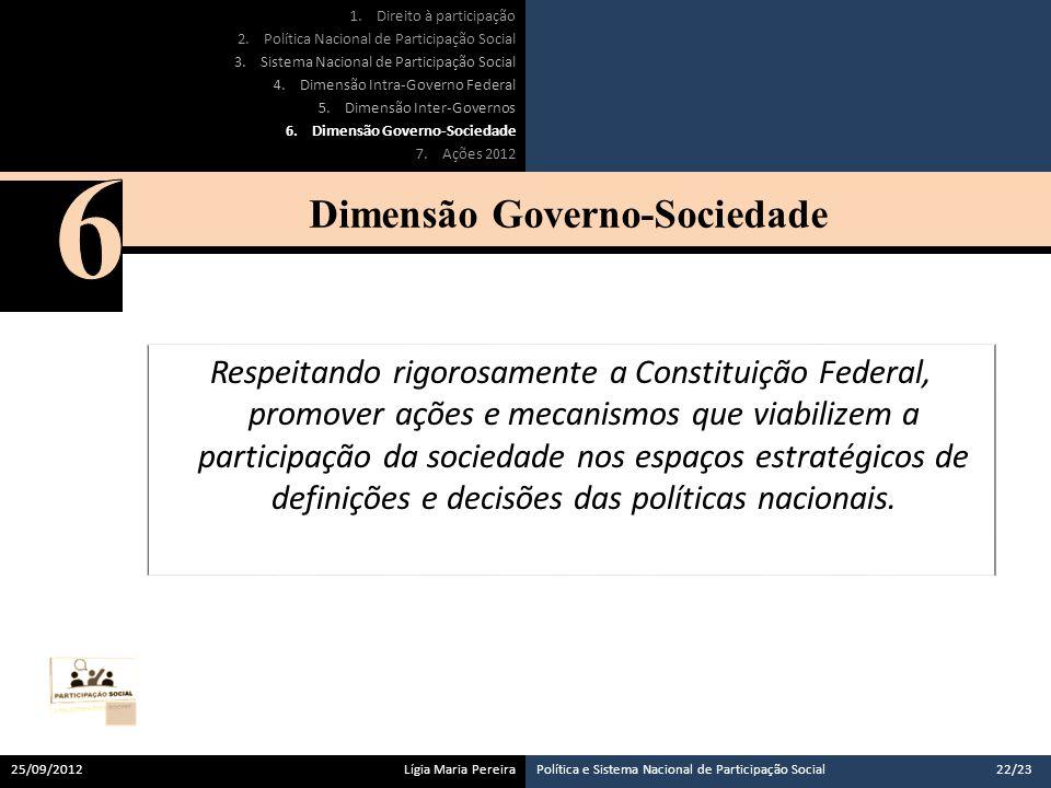 Respeitando rigorosamente a Constituição Federal, promover ações e mecanismos que viabilizem a participação da sociedade nos espaços estratégicos de definições e decisões das políticas nacionais.