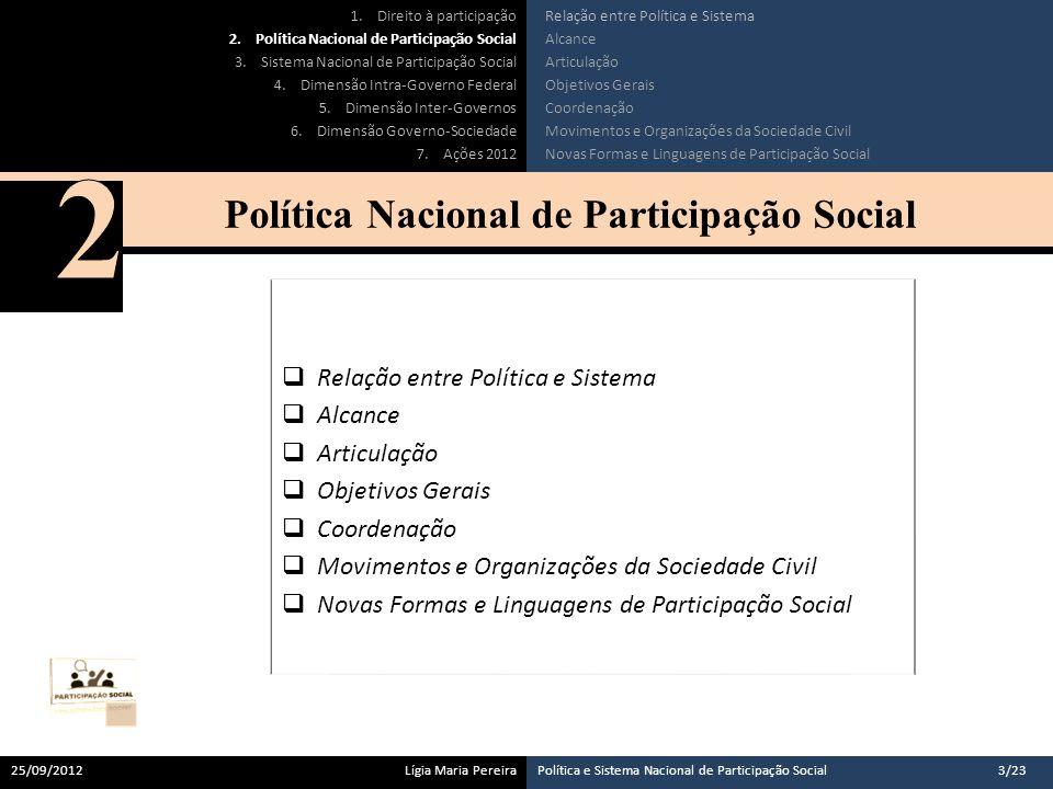 A Política Nacional de Participação Social define objetivos que afetam a gestão governamental como um todo.