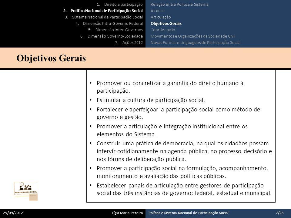 Concordância com objetivos da Política Nacional; Concordância com diretrizes do Sistema Nacional; Efetiva prática de participação social no seu âmbito de atuação.