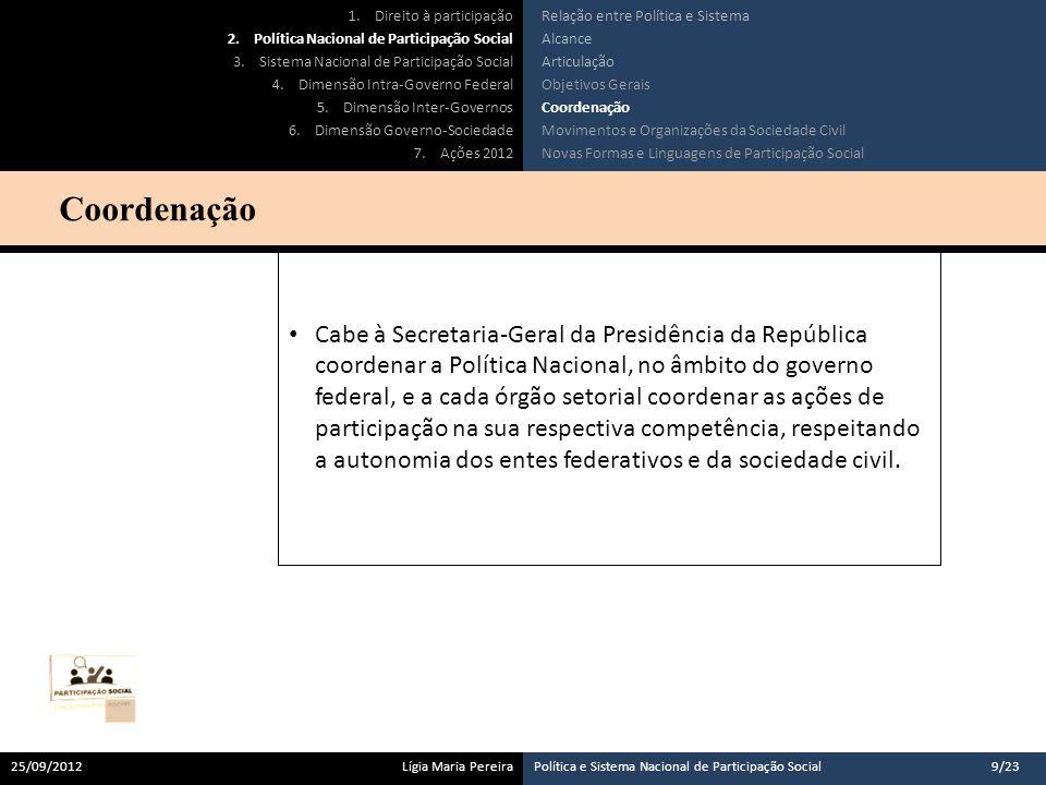 Cabe à Secretaria-Geral da Presidência da República coordenar a Política Nacional, no âmbito do governo federal, e a cada órgão setorial coordenar as ações de participação na sua respectiva competência, respeitando a autonomia dos entes federativos e da sociedade civil.