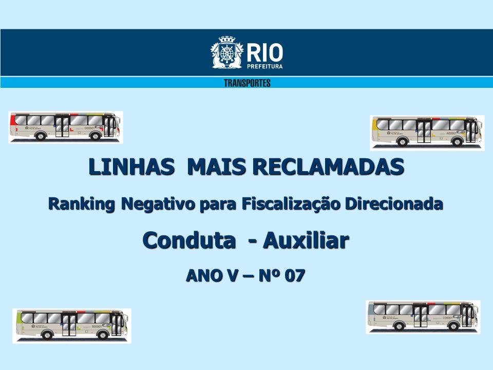 LINHAS MAIS RECLAMADAS Ranking Negativo para Fiscalização Direcionada Conduta - Auxiliar ANO V – Nº 07