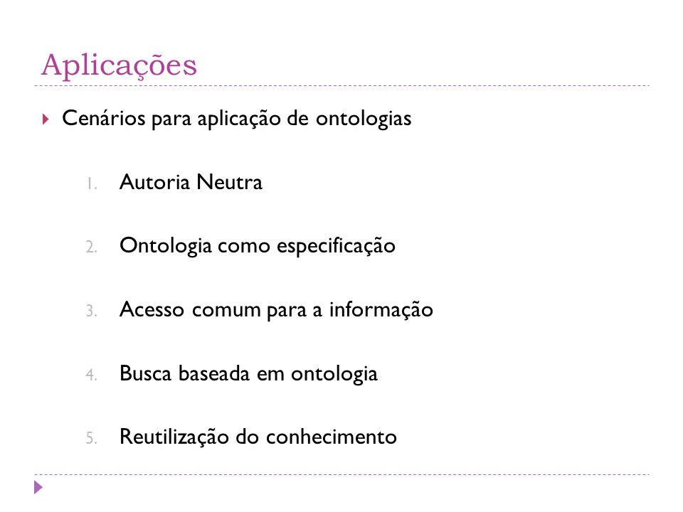  Cenários para aplicação de ontologias 1. Autoria Neutra 2. Ontologia como especificação 3. Acesso comum para a informação 4. Busca baseada em ontolo