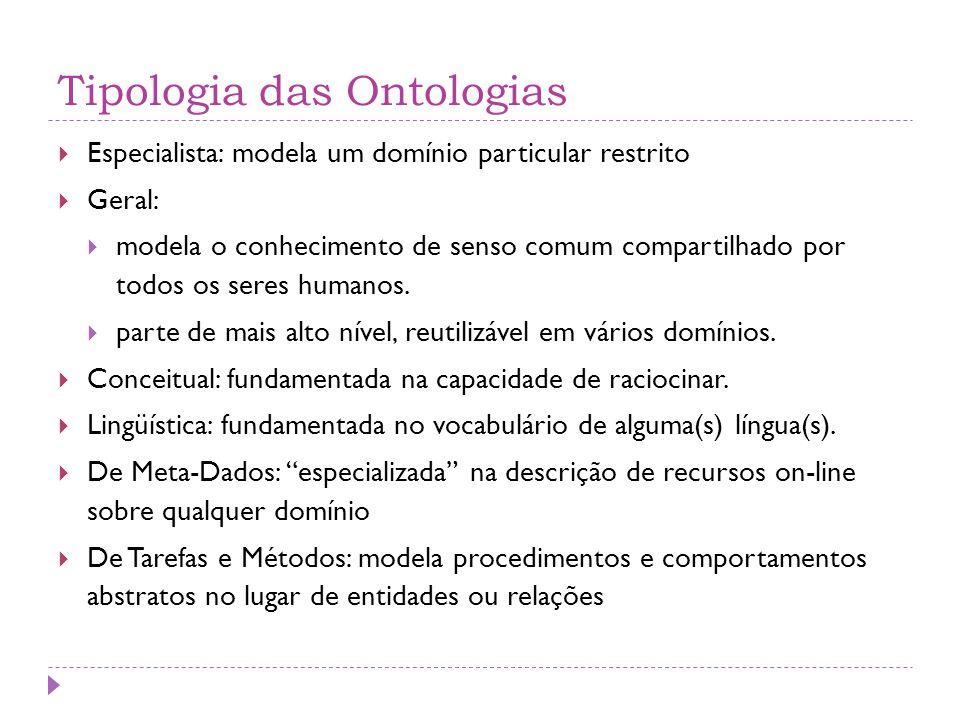 Tipologia das Ontologias  Especialista: modela um domínio particular restrito  Geral:  modela o conhecimento de senso comum compartilhado por todos os seres humanos.