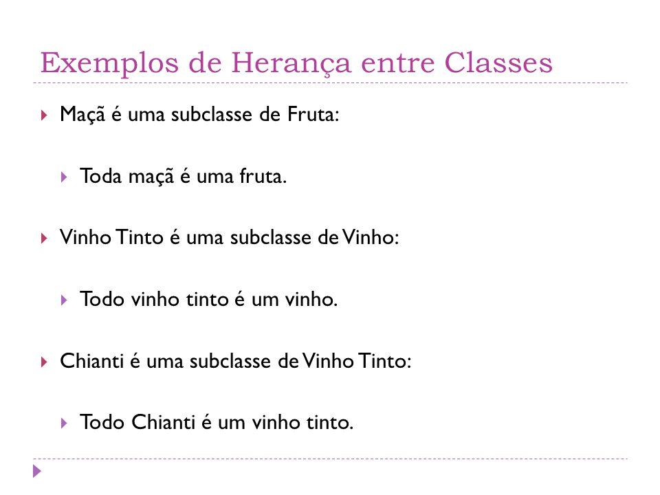 Exemplos de Herança entre Classes  Maçã é uma subclasse de Fruta:  Toda maçã é uma fruta.  Vinho Tinto é uma subclasse de Vinho:  Todo vinho tinto