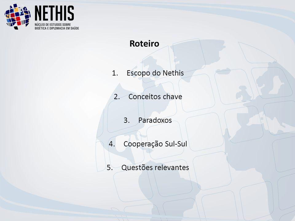 Roteiro 1.Escopo do Nethis 2.Conceitos chave 3.Paradoxos 4.Cooperação Sul-Sul 5.Questões relevantes