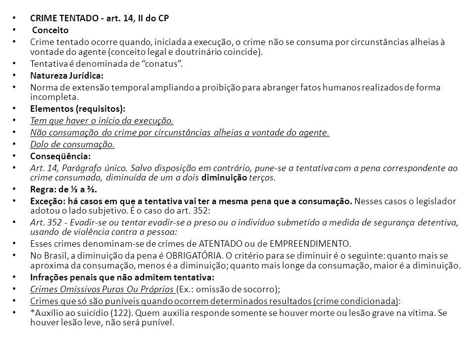 CRIME TENTADO - art. 14, II do CP Conceito Crime tentado ocorre quando, iniciada a execução, o crime não se consuma por circunstâncias alheias à vonta