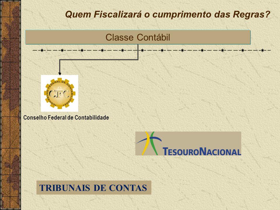 Quem Fiscalizará o cumprimento das Regras? Conselho Federal de Contabilidade Classe Contábil TRIBUNAIS DE CONTAS