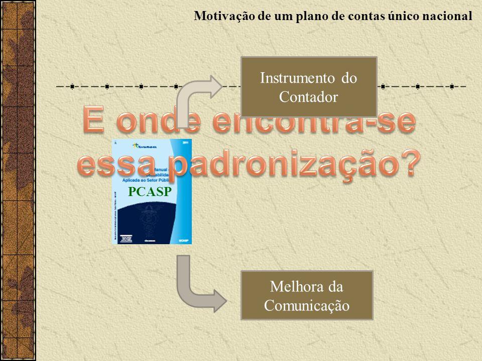 Instrumento do Contador PCASP Melhora da Comunicação Motivação de um plano de contas único nacional