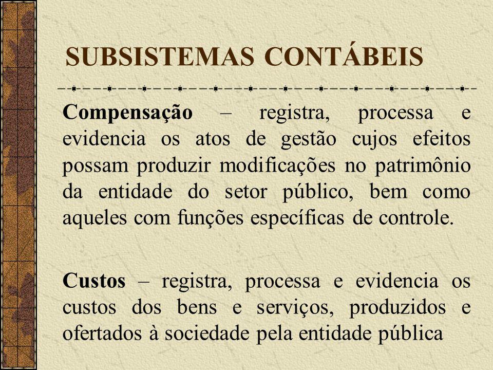 SUBSISTEMAS CONTÁBEIS Compensação – registra, processa e evidencia os atos de gestão cujos efeitos possam produzir modificações no patrimônio da entid