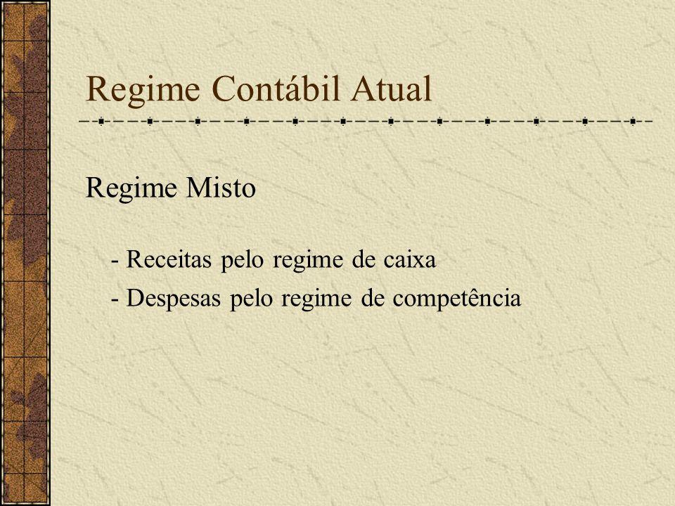 Regime Contábil Atual Regime Misto - Receitas pelo regime de caixa - Despesas pelo regime de competência