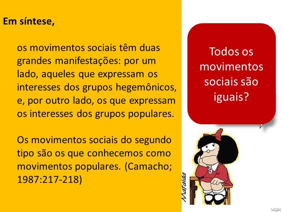 Todos os movimentos sociais são iguais? Em síntese, os movimentos sociais têm duas grandes manifestações: por um lado, aqueles que expressam os intere