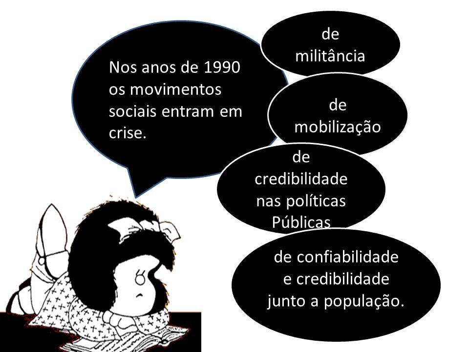 Nos anos de 1990 os movimentos sociais entram em crise. de militância de mobilização de credibilidade nas políticas Públicas de confiabilidade e credi
