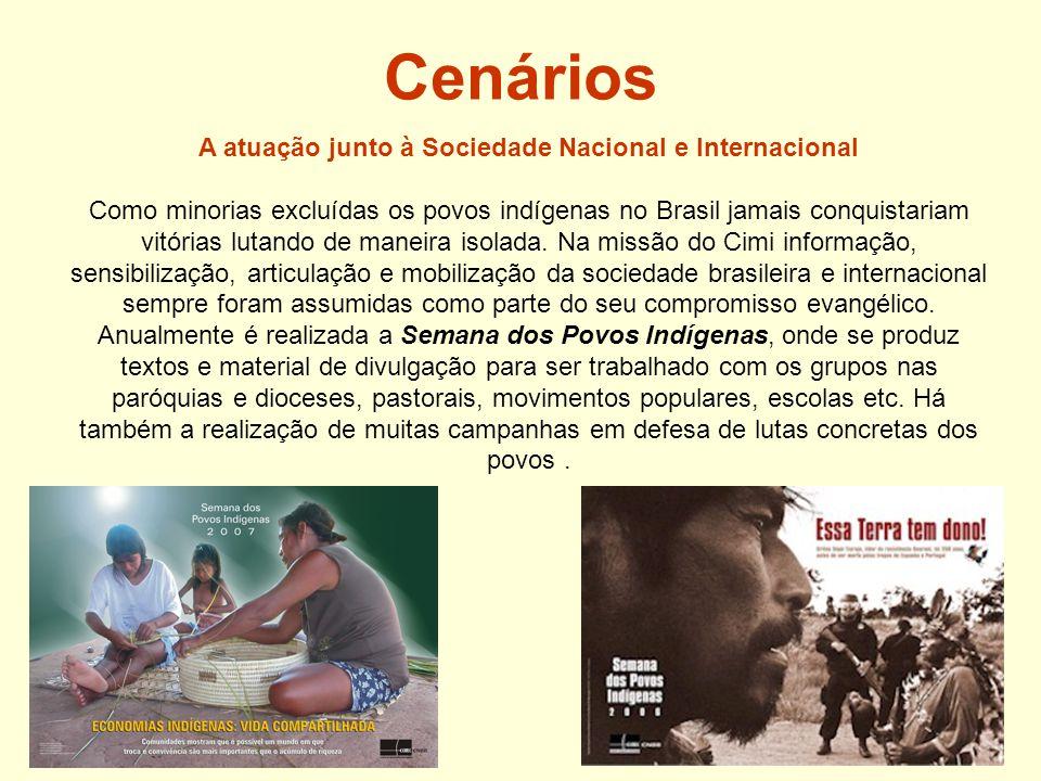 Cenários A atuação junto à Sociedade Nacional e Internacional Como minorias excluídas os povos indígenas no Brasil jamais conquistariam vitórias lutando de maneira isolada.