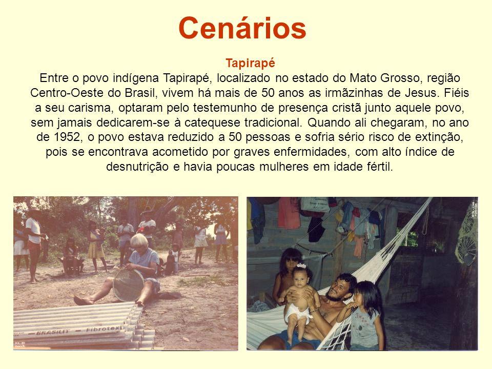 Cenários Tapirapé Entre o povo indígena Tapirapé, localizado no estado do Mato Grosso, região Centro-Oeste do Brasil, vivem há mais de 50 anos as irmãzinhas de Jesus.