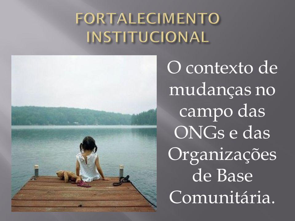 CONTEXTO DE MUDANÇAS 1 - O contexto sócio-econômico e político; 2 - Mudanças nas relações de cooperação internacional; 3 – O desenvolvimento institucional do próprio campo das ONGs brasileiras.