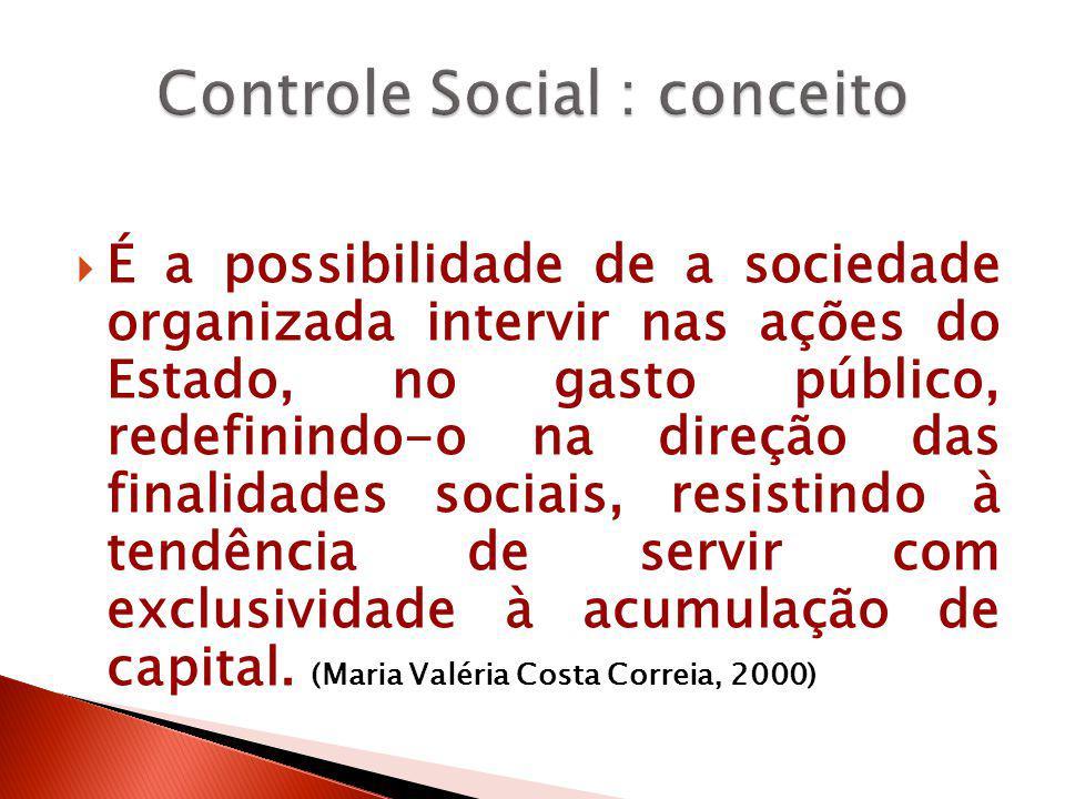  É a possibilidade de a sociedade organizada intervir nas ações do Estado, no gasto público, redefinindo-o na direção das finalidades sociais, resist