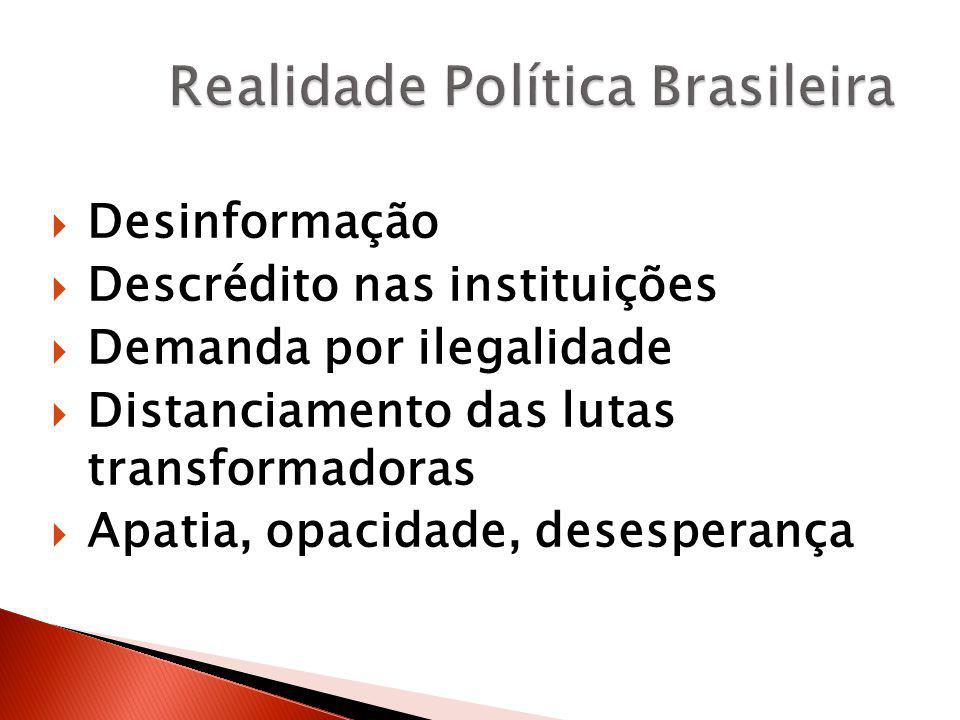  Desinformação  Descrédito nas instituições  Demanda por ilegalidade  Distanciamento das lutas transformadoras  Apatia, opacidade, desesperança
