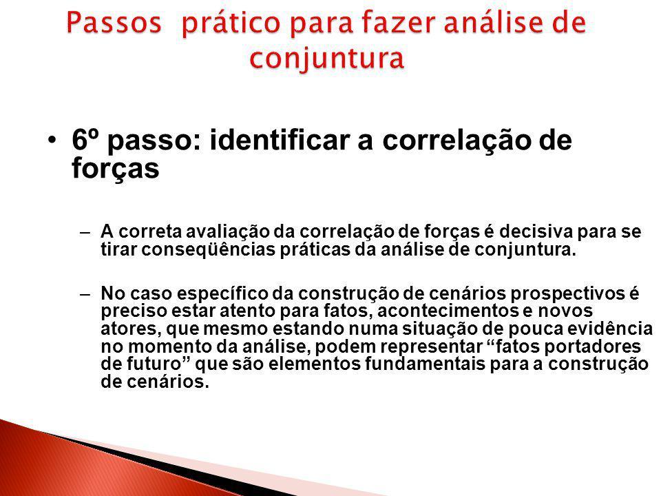 6º passo: identificar a correlação de forças –A correta avaliação da correlação de forças é decisiva para se tirar conseqüências práticas da análise d