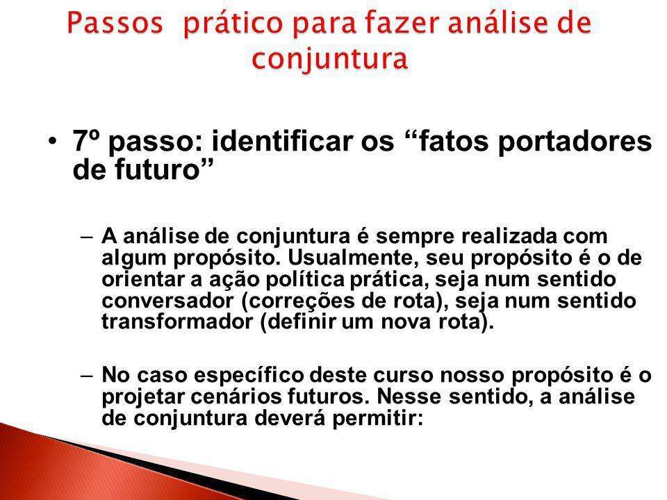 """7º passo: identificar os """"fatos portadores de futuro"""" –A análise de conjuntura é sempre realizada com algum propósito. Usualmente, seu propósito é o d"""