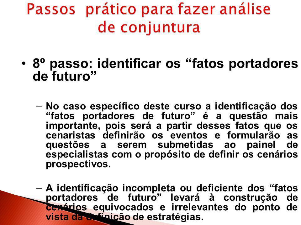 """8º passo: identificar os """"fatos portadores de futuro"""" –No caso específico deste curso a identificação dos """"fatos portadores de futuro"""" é a questão mai"""