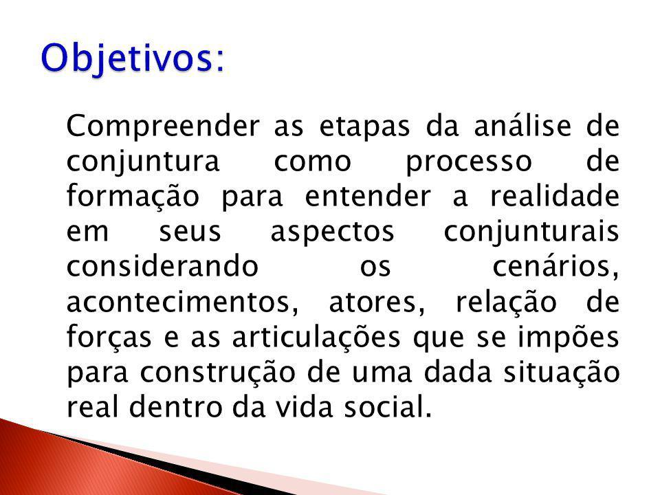 Compreender as etapas da análise de conjuntura como processo de formação para entender a realidade em seus aspectos conjunturais considerando os cenár