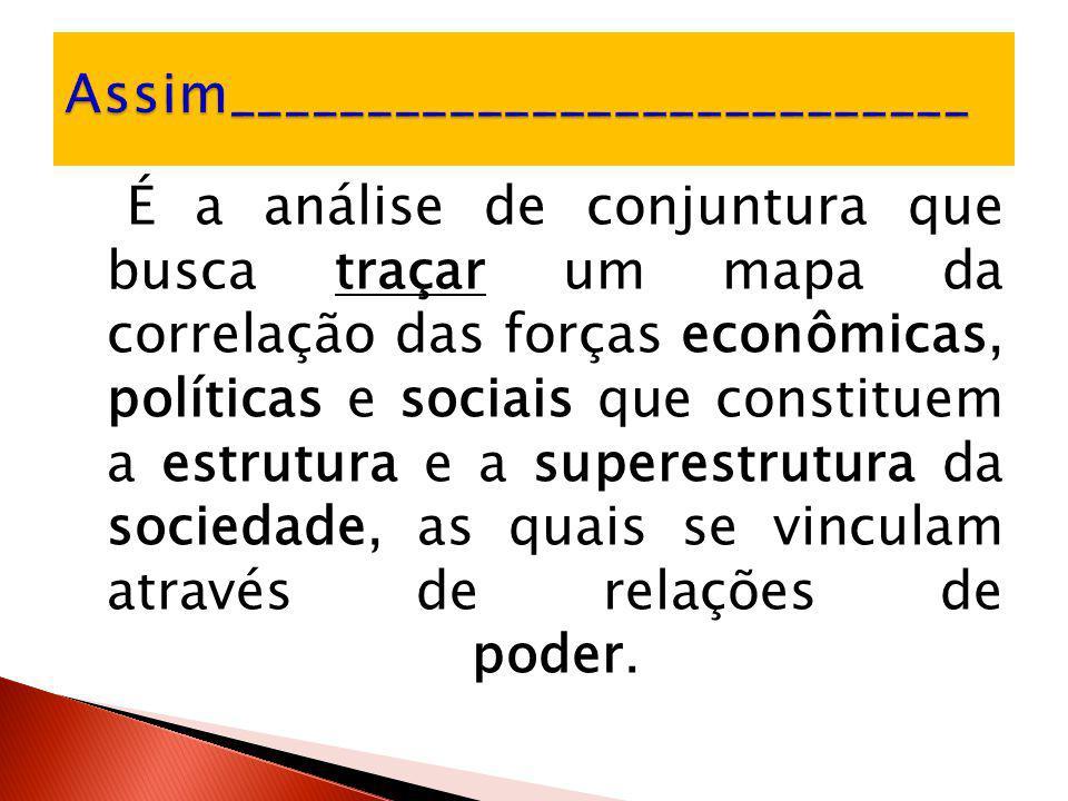É a análise de conjuntura que busca traçar um mapa da correlação das forças econômicas, políticas e sociais que constituem a estrutura e a superestrut