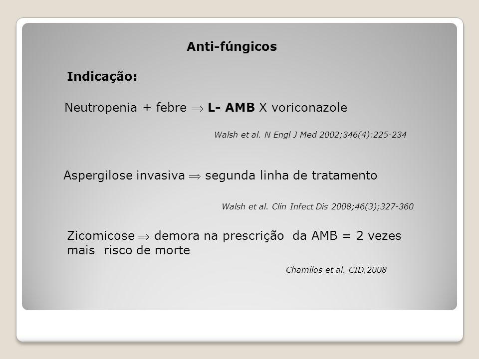 Anti-fúngicos Walsh et al. N Engl J Med 2002;346(4):225-234 Neutropenia + febre  L- AMB X voriconazole Aspergilose invasiva  segunda linha de tratam