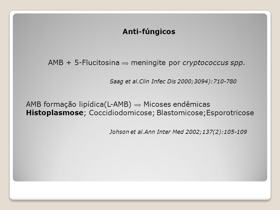 Anti-fúngicos AMB + 5-Flucitosina  meningite por cryptococcus spp. Saag et al.Clin Infec Dis 2000;3094):710-780 AMB formação lipídica(L-AMB)  Micose