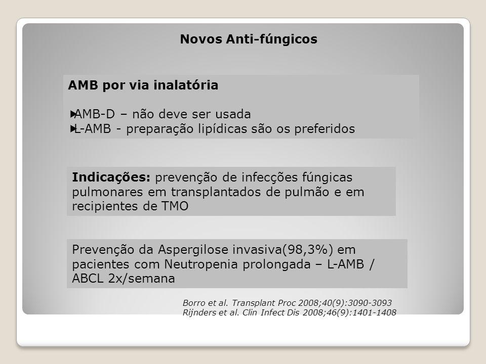 Novos Anti-fúngicos AMB por via inalatória  AMB-D – não deve ser usada  L-AMB - preparação lipídicas são os preferidos Indicações: prevenção de infe