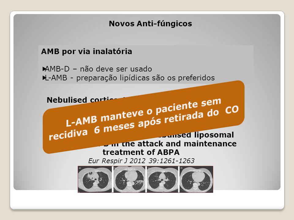Novos Anti-fúngicos AMB por via inalatória  AMB-D – não deve ser usado  L-AMB - preparação lipídicas são os preferidos Godet C et al. Efficacy of ne