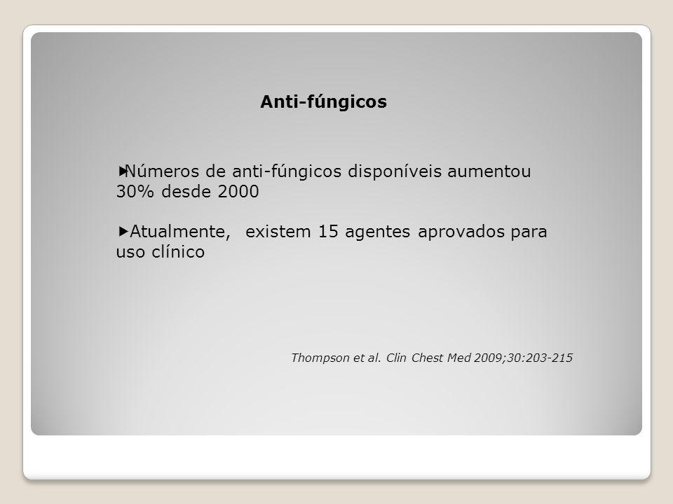 Anti-fúngicos  Números de anti-fúngicos disponíveis aumentou 30% desde 2000  Atualmente, existem 15 agentes aprovados para uso clínico Thompson et a