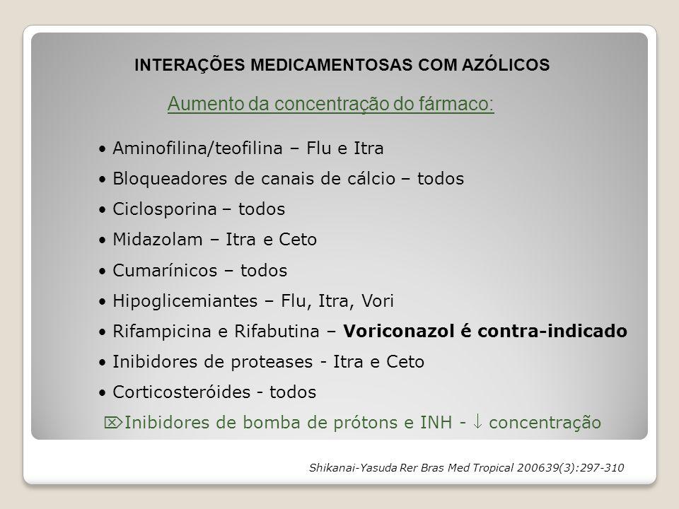INTERAÇÕES MEDICAMENTOSAS COM AZÓLICOS Aumento da concentração do fármaco: Aminofilina/teofilina – Flu e Itra Bloqueadores de canais de cálcio – todos