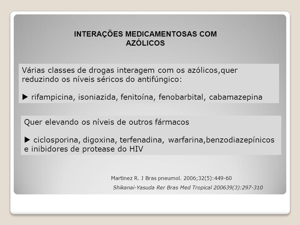 Martinez R. J Bras pneumol. 2006;32(5):449-60 Várias classes de drogas interagem com os azólicos,quer reduzindo os níveis séricos do antifúngico:  ri