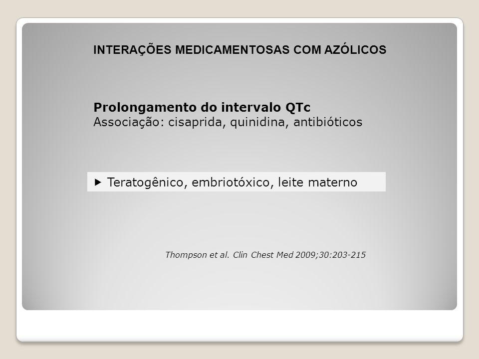 INTERAÇÕES MEDICAMENTOSAS COM AZÓLICOS Prolongamento do intervalo QTc Associação: cisaprida, quinidina, antibióticos  Teratogênico, embriotóxico, lei