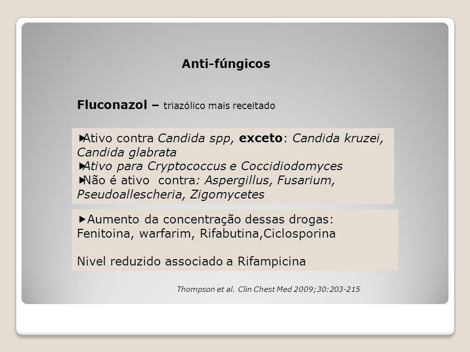Anti-fúngicos Fluconazol – triazólico mais receitado  Ativo contra Candida spp, exceto: Candida kruzei, Candida glabrata  Ativo para Cryptococcus e
