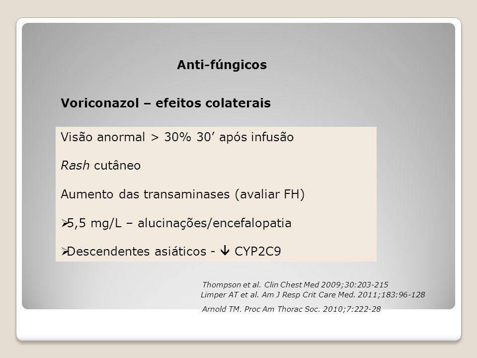 Voriconazol – efeitos colaterais Anti-fúngicos Visão anormal > 30% 30' após infusão Rash cutâneo Aumento das transaminases (avaliar FH)  5,5 mg/L – a