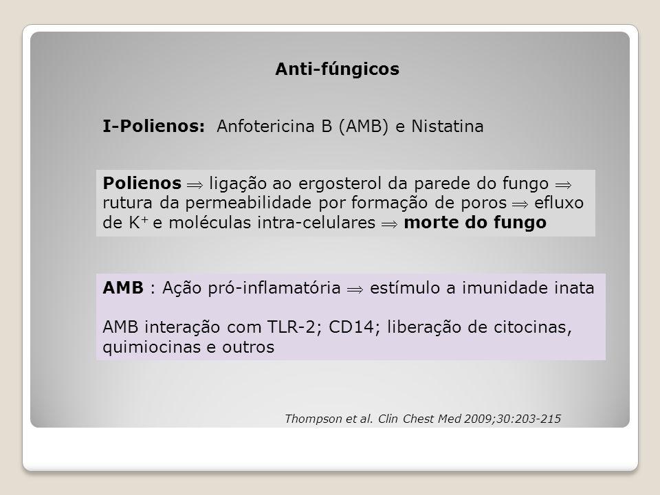 Anti-fúngicos I-Polienos: Anfotericina B (AMB) e Nistatina Polienos  ligação ao ergosterol da parede do fungo  rutura da permeabilidade por formação