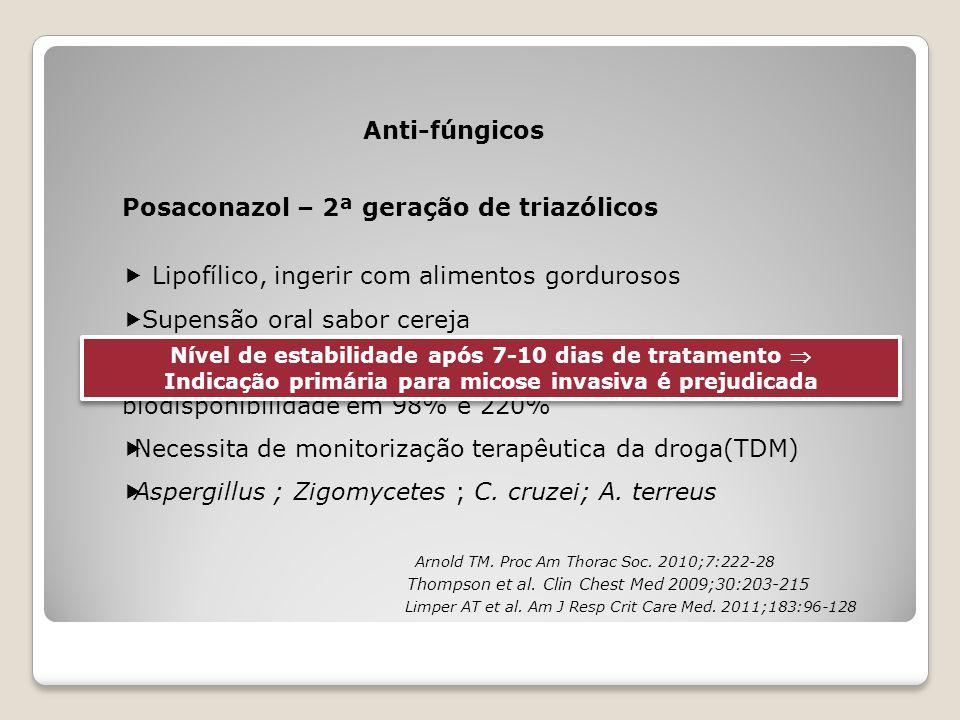 Posaconazol – 2ª geração de triazólicos Anti-fúngicos  Lipofílico, ingerir com alimentos gordurosos  Supensão oral sabor cereja  2 - 4 x/dia com co