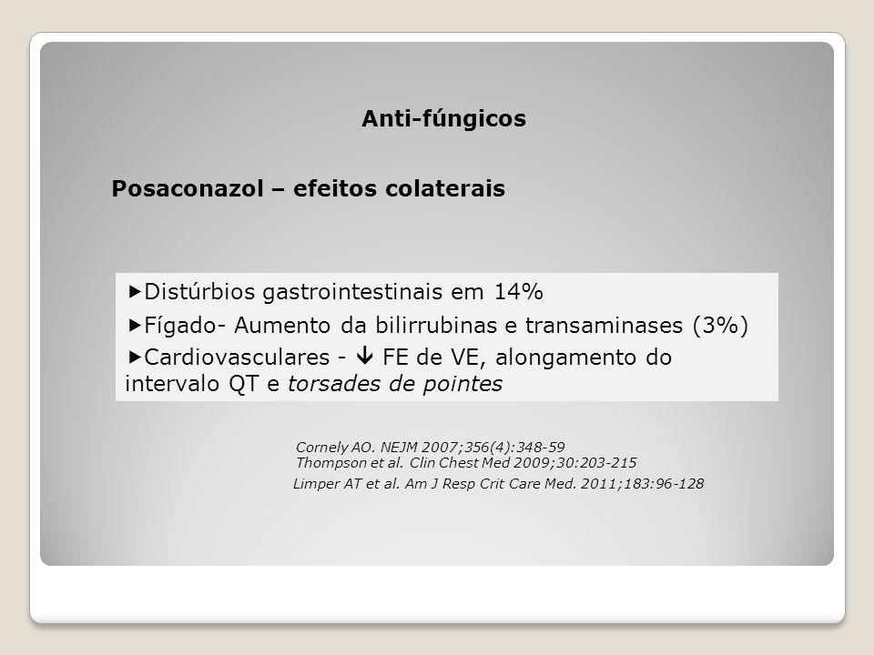 Posaconazol – efeitos colaterais Anti-fúngicos  Distúrbios gastrointestinais em 14%  Fígado- Aumento da bilirrubinas e transaminases (3%)  Cardiova