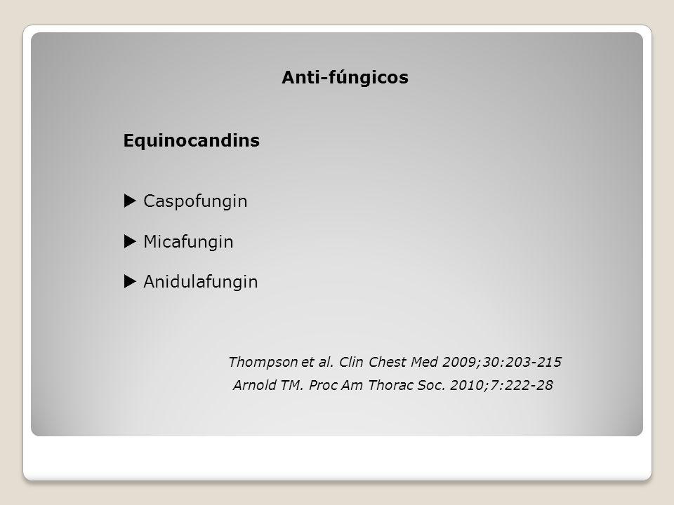 Anti-fúngicos Equinocandins  Caspofungin  Micafungin  Anidulafungin Thompson et al. Clin Chest Med 2009;30:203-215 Arnold TM. Proc Am Thorac Soc. 2