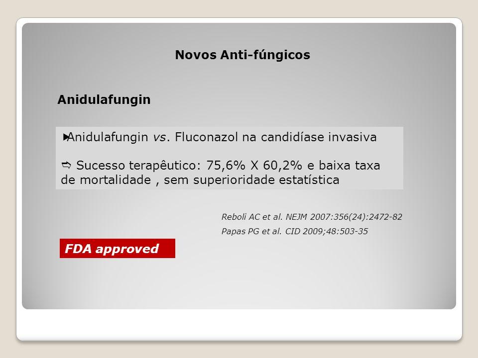 Novos Anti-fúngicos Anidulafungin  Anidulafungin vs. Fluconazol na candidíase invasiva  Sucesso terapêutico: 75,6% X 60,2% e baixa taxa de mortalida