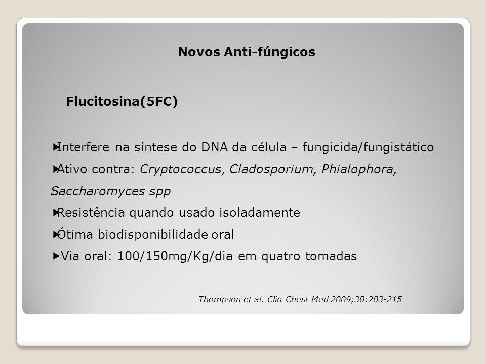 Novos Anti-fúngicos Flucitosina(5FC)  Interfere na síntese do DNA da célula – fungicida/fungistático  Ativo contra: Cryptococcus, Cladosporium, Phia