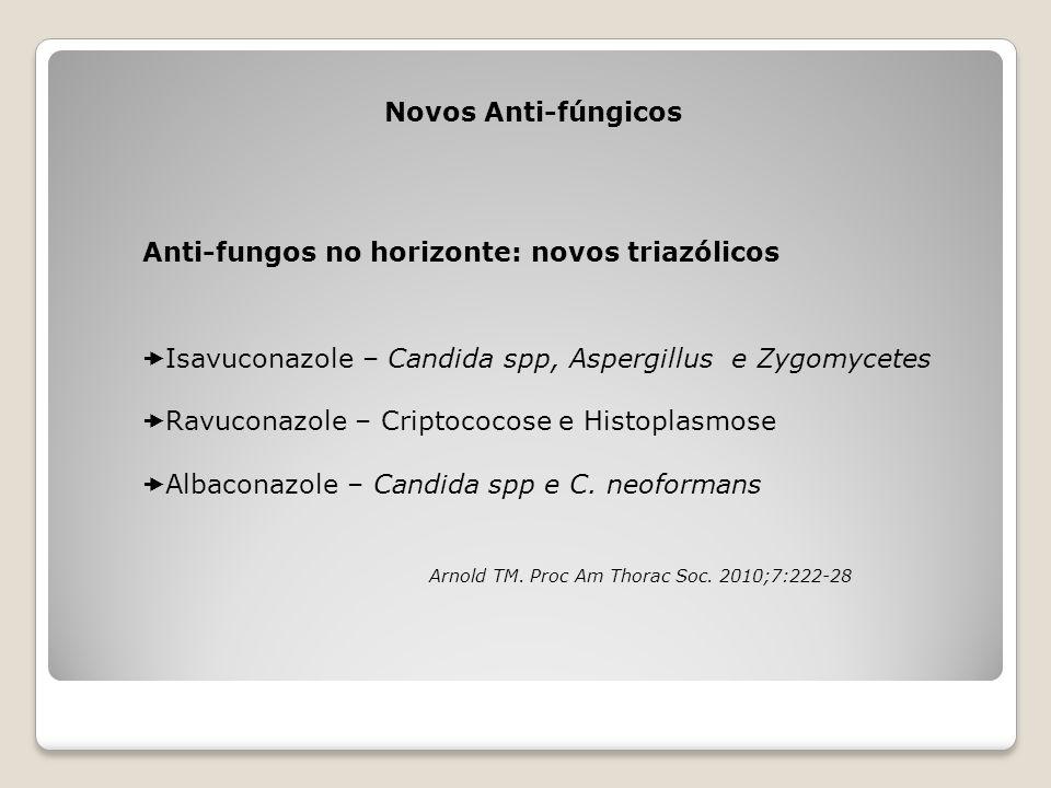 Novos Anti-fúngicos Anti-fungos no horizonte: novos triazólicos  Isavuconazole – Candida spp, Aspergillus e Zygomycetes  Ravuconazole – Criptococose