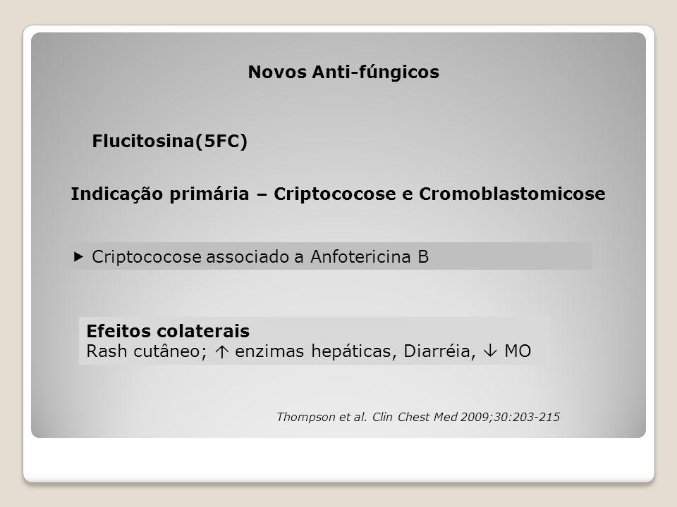 Novos Anti-fúngicos Flucitosina(5FC) Indicação primária – Criptococose e Cromoblastomicose  Criptococose associado a Anfotericina B Efeitos colaterai