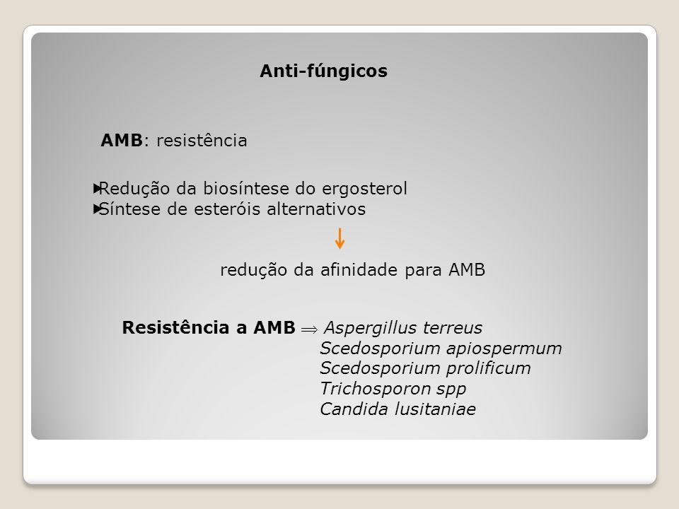 Anti-fúngicos AMB: resistência  Redução da biosíntese do ergosterol  Síntese de esteróis alternativos redução da afinidade para AMB Resistência a AM