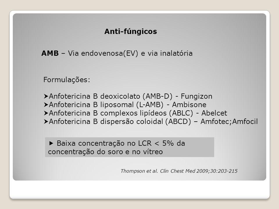 Thompson et al. Clin Chest Med 2009;30:203-215 Anti-fúngicos AMB – Via endovenosa(EV) e via inalatória Formulações:  Anfotericina B deoxicolato (AMB-
