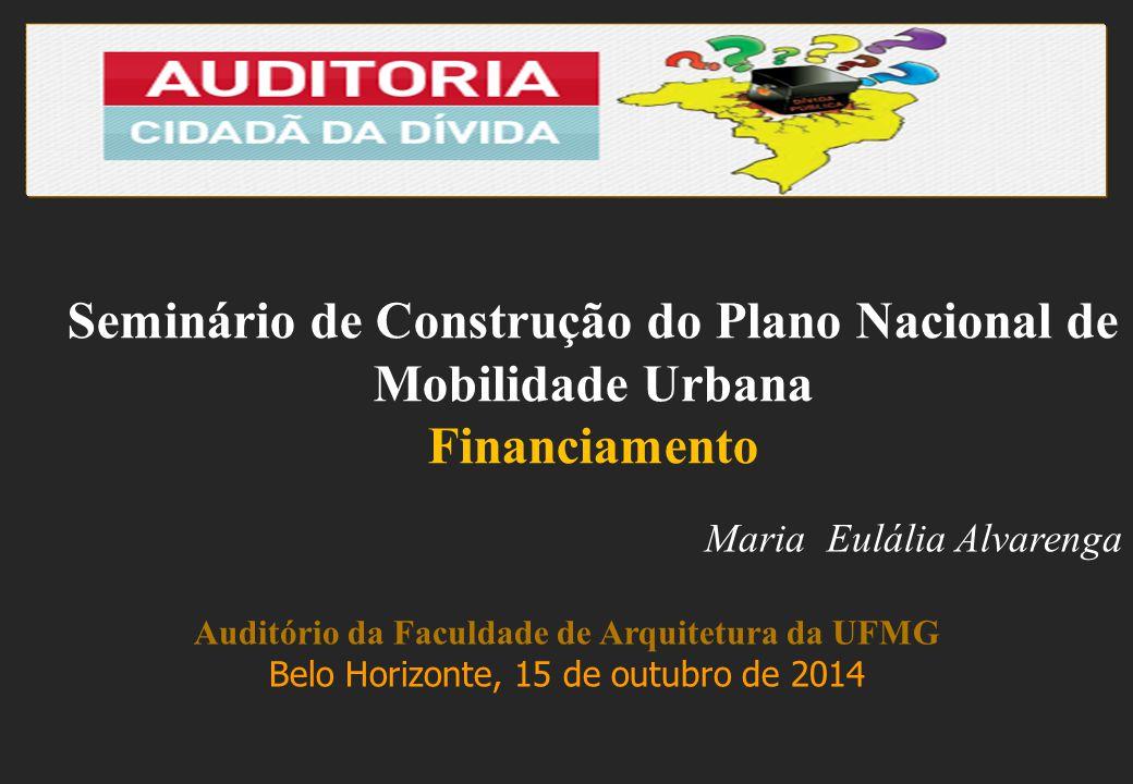 Maria Eulália Alvarenga Auditório da Faculdade de Arquitetura da UFMG Belo Horizonte, 15 de outubro de 2014 Seminário de Construção do Plano Nacional de Mobilidade Urbana Financiamento